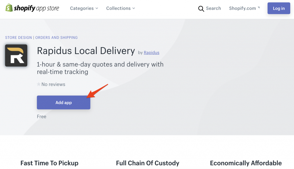 Add app on Rapidus Local Delivery on Shopify App Store