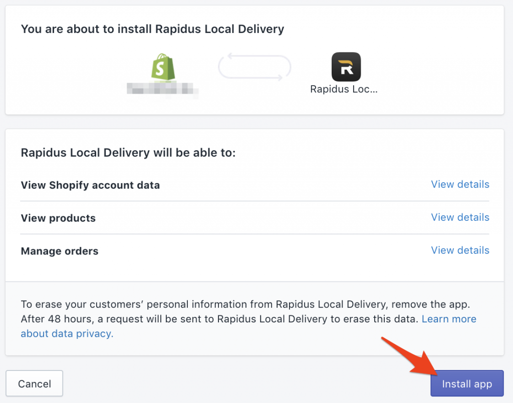 Click on Install Rapidus Local Delivery app